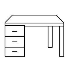 desk isolated icon black and white vector image