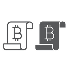 Distributed ledger line and glyph icon finance vector