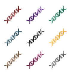 dna code icon in black style isolated on white vector image