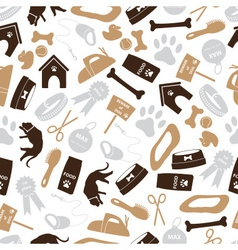 dog icons brown color seamless pattern eps10 vector image