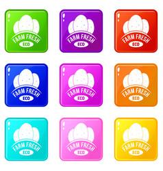 eco farm fresh icons set 9 color collection vector image