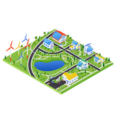 Eco village - modern colorful isometric vector