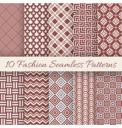 Fashion marsala color seamless pattern set vector