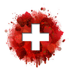 flag switzerland on red paint splashes vector image