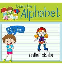 Flashcard letter r is for roller skate vector