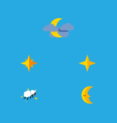 Flat icon midnight set of night star moon and vector
