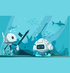 Futuristic robots marine composition vector