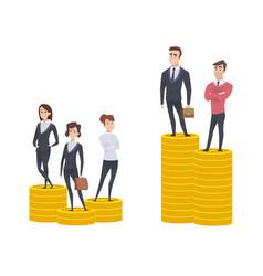 gender gap inequality woman man salary gaps vector image