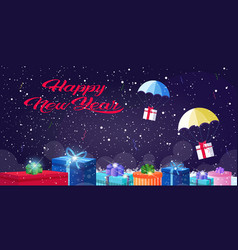 Gift present boxes falling down with parachutes vector