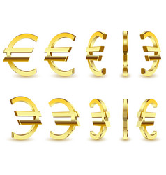 gold sign is a euro on white background vector image