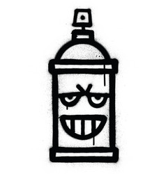 Graffiti sneaky spraycan sprayed in black over vector