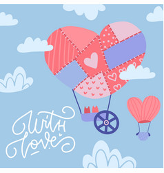 greeting card valentine s day with cartoon vector image