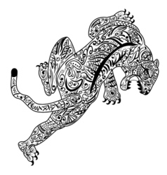 Hand draw of Tiger in zentangle style vector