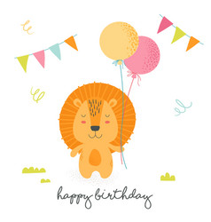 Happy birthday greeting card with cute cartoon vector