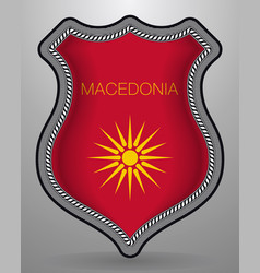 Historical flag of republic of macedonia badge vector