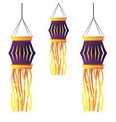 Indian lanterns candles decoration vector