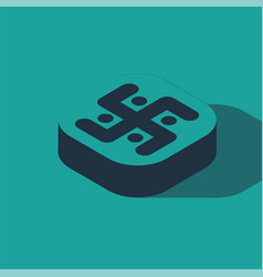 Isometric jainism icon isolated on green vector
