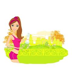 Jogging girl in summer vector image