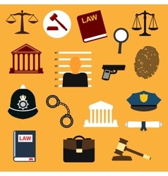 Law justice and police flat icons vector image