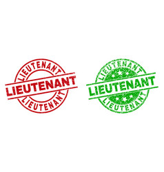Lieutenant round stamps using grunge style vector