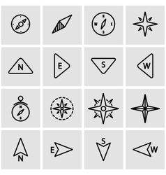 line compass icon set vector image