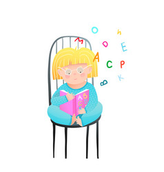 Little girl reading a book holding open abc vector