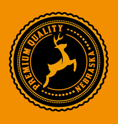 Logo or badge with deer icon vector