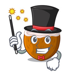 Magician half coconut isolated on the mascot vector