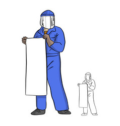 mechanic man in jumpsuit and facial protective vector image