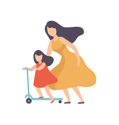 mother teaching daughter to ride kick scooter vector image