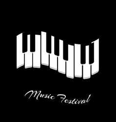 Music festival piano keyboard on a black vector