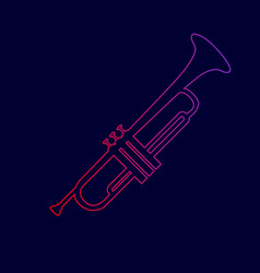 Musical instrument trumpet sign line icon vector