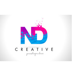 Nd n d letter logo with shattered broken blue vector