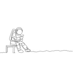 One continuous line drawing young spaceman vector