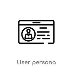 Outline user persona icon isolated black simple vector