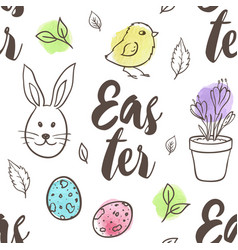 pattern with eggs rabbit and chicken vector image