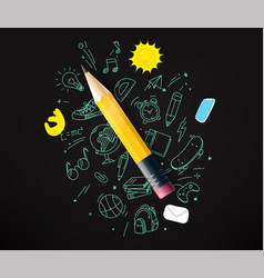 Pencil with doodling elements vector