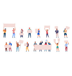 people protest set isolated on white background vector image