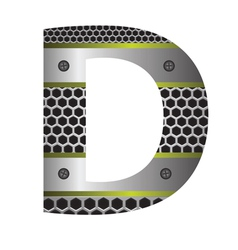 Perforated metal letter D vector