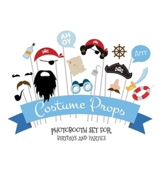 Pirate photo booth props and scrapbooking vector image