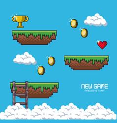 Pixelated game scenery vector