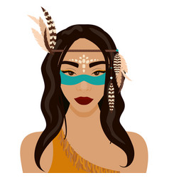 Red indian girl vector