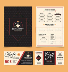 restaurant menu gift card set design vector image