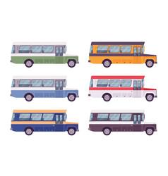 Retro bus set in bright colors vector