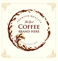 ring splashed logo coffee brand quality vector image