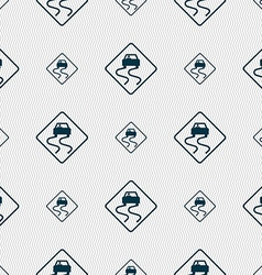 Road slippery icon sign Seamless pattern with vector image