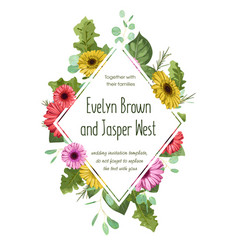 romantic floral pattern wedding invitation vector image