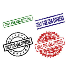 Scratched textured only for usa citizens stamp vector