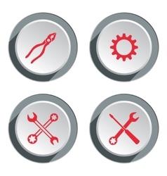 Screwdriver cogwheel pliers wrench key icon vector image