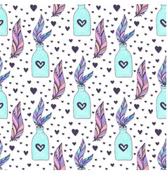 seamless crystal gems pattern with feathers and vector image
